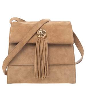 Salvatore Ferragamo Brown Suede Buckle Flap Tassel Shoulder Bag