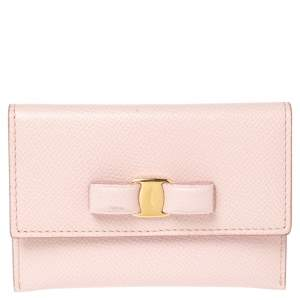 Salvatore Ferragamo  Pink Leather Vara Bow Case