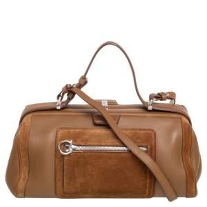 Salvatore Ferragamo Brown Leather and Suede Duffel Bag