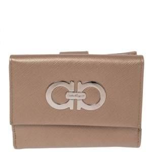 Salvatore Ferragamo Gold Leather Double Gancio Flap Compact Wallet