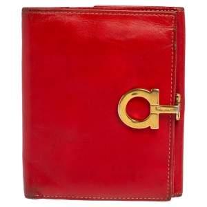 Salvatore Ferragamo Red Leather Gancini Clip French Wallet