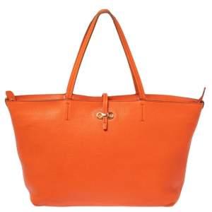 Salvatore Ferragamo Orange Leather Tote