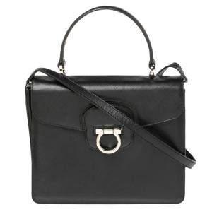 Salvatore Ferragamo Black Leather Gancio Flap Top Handle Bag