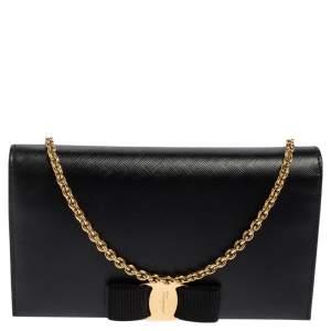 Salvatore Ferragamo Black Leather Miss Vara Wallet On Chain