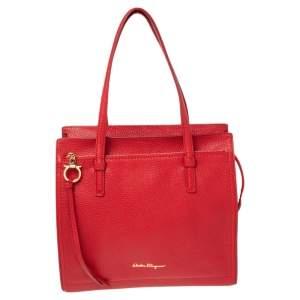 Salvatore Ferragamo Red Leather Medium Amy Tote