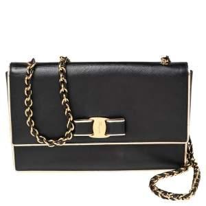 Salvatore Ferragamo Black/Gold Leather Ginny Shoulder Bag