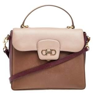 Salvatore Ferragamo Beige/Brown Leather Gancini Top Handle