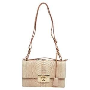 Salvatore Ferragamo Macaron Pink Python Aileen Flap Shoulder Bag