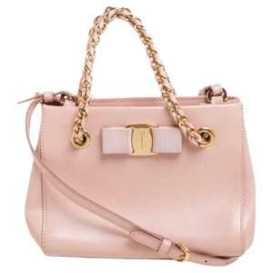 Salvatore Ferragamo Pink Leather Mini Melike Vara Bow Chain Tote