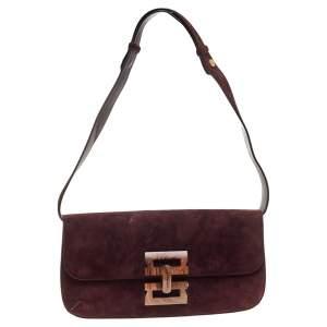 Salvatore Ferragamo Burgundy Suede Wood Logo Flap Shoulder Bag