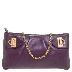 Salvatore Ferragamo Purple Leather Gancini Shoulder Bag