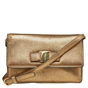Salvatore Ferragamo Gold Leather Vara Bow Shoulder Bag