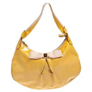 Salvatore Ferragamo Yellow Patent Leather Miss Vara Hobo