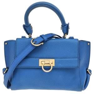 حقيبة سالفاتوري فيراغامو سوفيا جلد أزرق متوسطة بيد علوية