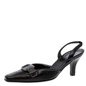 Salvatore Ferragamo Black Leather Slingback Sandals Size 37