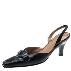 Salvatore Ferragamo Black Leather Lua Bow Slingback Sandals Size 40.5