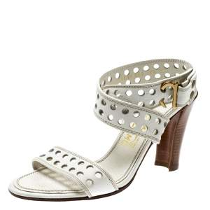 Salvatore Ferragamo White Perforated Leather Ankle Wrap Sandals Size 38