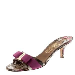Salvatore Ferragamo Multicolor Printed Leather Glory Bow Slides Size 37.5