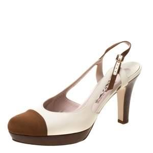 Salvatore Ferragamo White Leather And Brown Canvas Slingback Platform Sandals Size 39.5