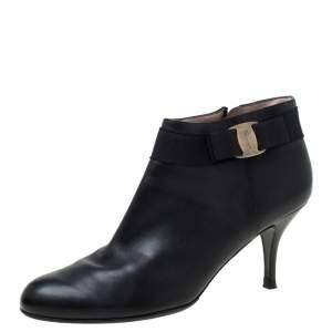 Salvatore Ferragamo Black Leather Booties Size 41