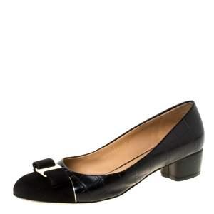 Salvatore Ferragamo Black Croc Embossed Leather And Suede Vara Bow Pumps Size 38.5