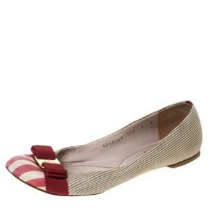 Salvatore Ferragamo Multicolor Fabric Varina Bow Ballet Flats Size 38.5