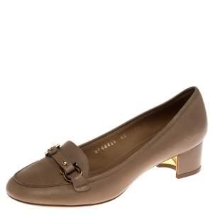 Salvatore Ferragamo Double Gancio Leather Block Heel Pumps Size 40