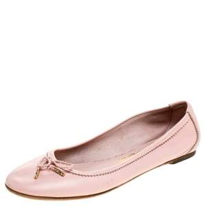 Salvatore Ferragamo Pink Leather Enea Ballet Flats Size 36