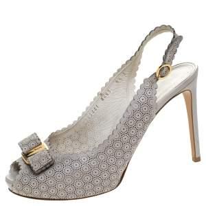 Salvatore Ferragamo Grey Laser Cut Scalloped Trim Leather Peep Toe Slingback Sandals Size 39