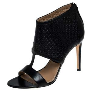 Salvatore Ferragamo Black Perforated Leather Pacella Open-Toe Booties Size 38