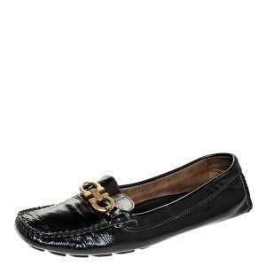 Salvatore Ferragamo Black Leather Gancio Bit Loafers Size 38.5
