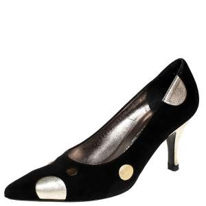 Salvatore Ferragamo Black Suede And Metallic Gold Circle Pointed Toe Pumps Size 36.5