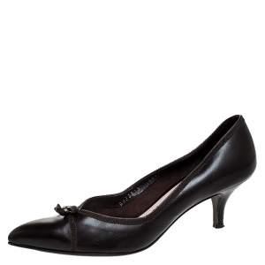 Salvatore Ferragamo Dark Brown Leather Bow Kitten Heel Pumps Size 38.5