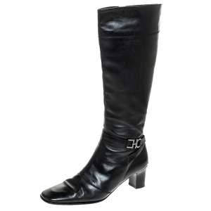 Salvatore Ferragamo Black Leather Gancini Detail Mid Calf Boots Size 36