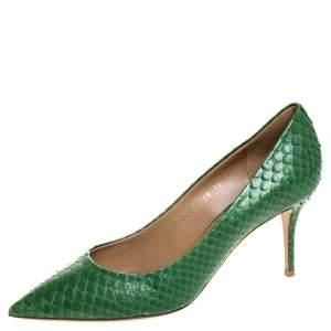 Salvatore Ferragamo Green Python Susi Pointed Toe Pumps Size 40.5