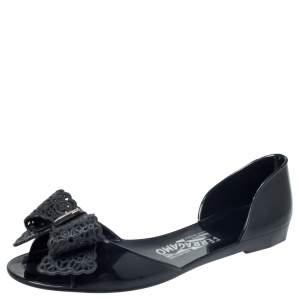 Salvatore Ferragamo Black Jelly Barbados Bow Flats Size 38.5