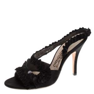 Salvatore Ferragamo Black Satin and Sequins Lucente Sandals Size 38.5