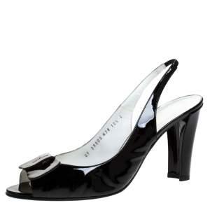 Salvatore Ferragamo Black Patent Leather Bow Peep Toe Slingback Sandals Size 41