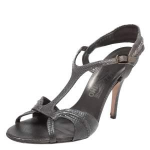 Salvatore Ferragamo Metallic Grey Snake Embossed Leather Linda Sandals Size 40.5