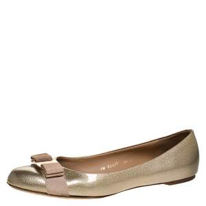 Salvatore Ferragamo Gold Coated Leather Vara Bow Ballet Flats Size 40