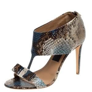 Salvatore Ferragamo Multicolor Python Embossed Studded Pellas T Strap Sandals Size 40.5