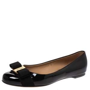 Salvatore Ferragamo Black Patent Leather Vara Bow Ballet Flats Size 36