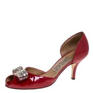 Salvatore Ferragamo Red Patent Leather Belinda Bow Pumps Size 37