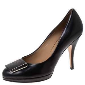 Salvatore Ferragamo Black Leather Metal Detail Pumps Size 39.5