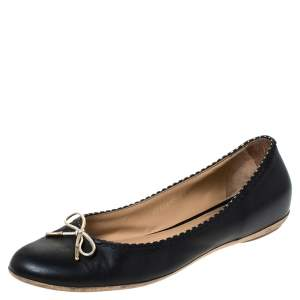 Salvatore Ferragamo Black/Gold Leather Bow Ballet Flats Size 40