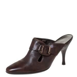 Salvatore Ferragamo Brown Leather Mule Sandals Size 37.5