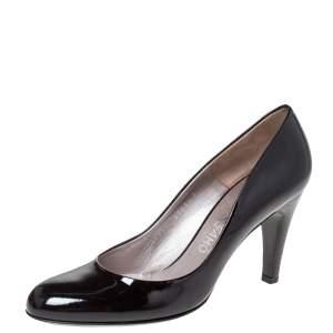 Salvatore Ferragamo Black Patent Leather Nene Pumps Size 38.5
