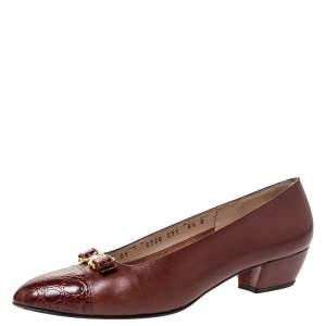 Salvatore Ferragamo Brown Leather And Croc Bow Cap Toe Ballet Flats Size 39