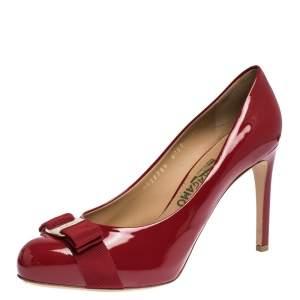 Salvatore Ferragamo Red Patent Leather Pimpa Pumps Size 39