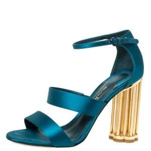 Salvatore Ferragamo Green Satin Strappy Metal Block Heel Sandals Size 38.5